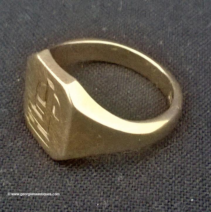 Gent S Signet Ring Engraved Fj 9 Carat Georgiana